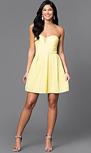 Image short strapless yellow lace dress by Bee Darlin. Style: BD-Q12JH423 Detail Image 1