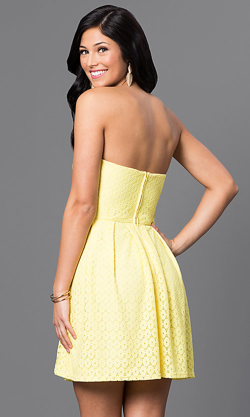 Image short strapless yellow lace dress by Bee Darlin. Style: BD-Q12JH423 Back Image