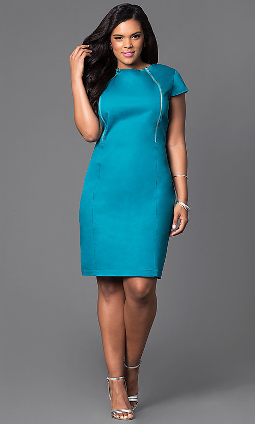 Image of knee length short-sleeve dress with zipper detail Style: AM-2133S361W Detail Image 1