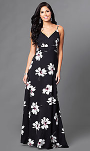 Image of v-neck long floral-print open-back dress. Style: LT-LD9766 Front Image