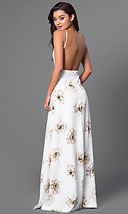 Image of v-neck long floral-print open-back dress. Style: LT-LD9766 Back Image