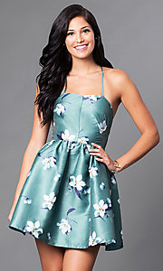 Image of short floral-print sleeveless homecoming dress. Style: LT-LD9878H Detail Image 2