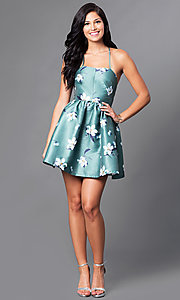Image of short floral-print sleeveless homecoming dress. Style: LT-LD9878H Detail Image 1