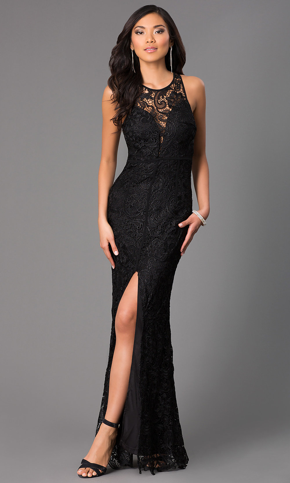 Long Sheer-Back Lace Formal Prom Dress - PromGirl