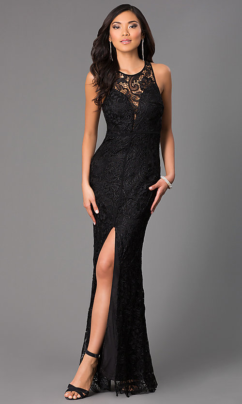 Image of lace long formal prom dress with sheer back. Style: LP-22888-v Front Image