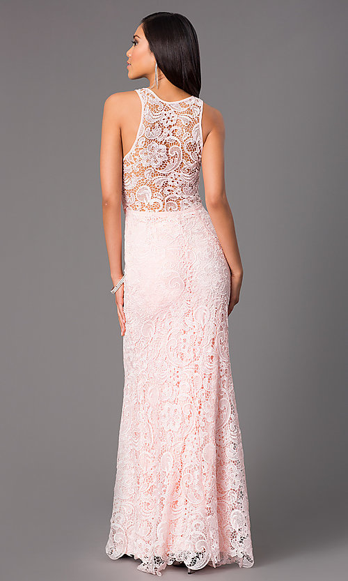 Image of lace long formal prom dress with sheer back. Style: LP-22888-v Back Image