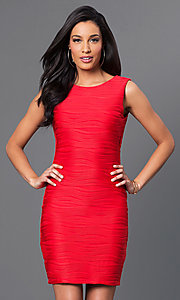 Short Red Sleeveless Ribbed Dress by Bee Darlin