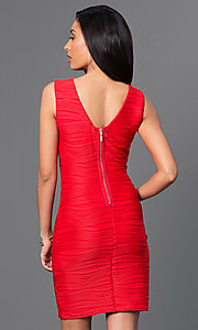 Image of short red sleeveless ribbed dress by Bee Darlin. Style: BD-X5HX5829 Back Image
