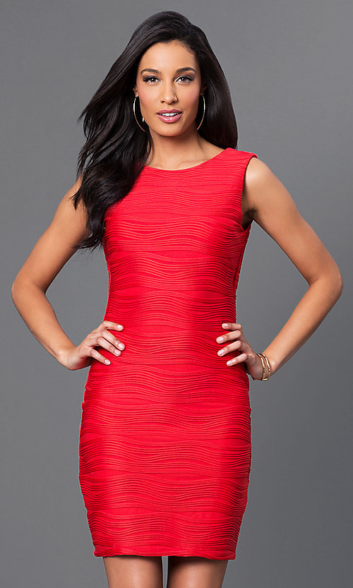 Image of short red sleeveless ribbed dress by Bee Darlin. Style: BD-X5HX5829 Front Image