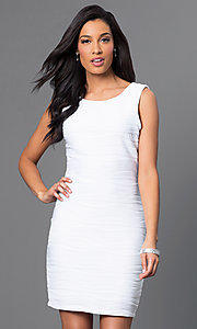 Image of short sleeveless Bee Darlin white dress. Style: BD-X5HXA916 Front Image