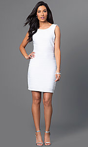 Image of short sleeveless Bee Darlin white dress. Style: BD-X5HXA916 Detail Image 1