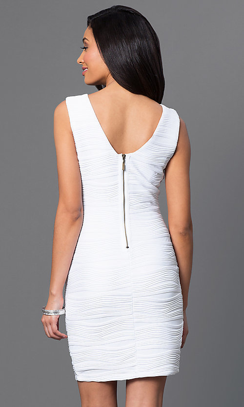 Image of short sleeveless Bee Darlin white dress. Style: BD-X5HXA916 Back Image