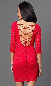 Image of red lace dress with laced back and sleeves. Style: BD-Q5VZG414 Back Image
