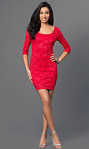 Image of red lace dress with laced back and sleeves. Style: BD-Q5VZG414 Detail Image 1