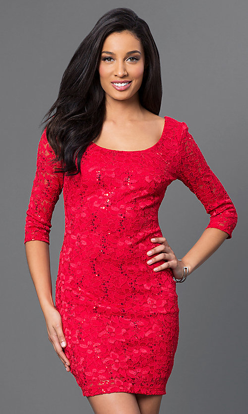 Image of red lace dress with laced back and sleeves. Style: BD-Q5VZG414 Front Image