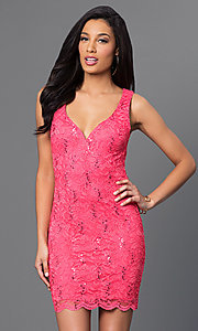 Image of short sleeveless coral-pink lace open-back dress. Style: BD-Q746H473 Front Image