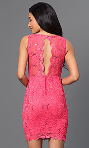 Image of short sleeveless coral-pink lace open-back dress. Style: BD-Q746H473 Back Image