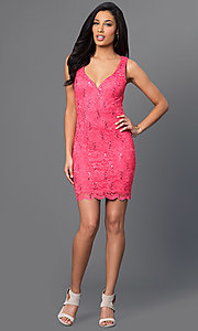 Image of short sleeveless coral-pink lace open-back dress. Style: BD-Q746H473 Detail Image 1