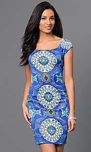 Fitted Cap-Sleeve Bee Darlin Print Dress
