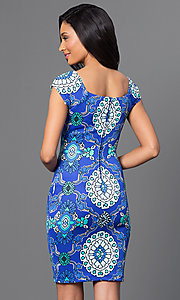 Image of fitted cap-sleeve Bee Darlin print dress. Style: BD-Q5ykh517 Back Image