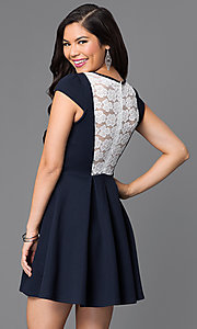 Image of short a-line lace-back cap-sleeve dress. Style: TR-CD20481 Back Image
