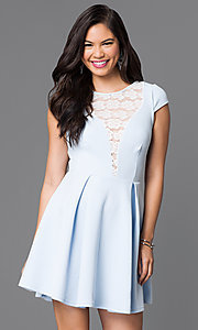 Image of short a-line lace-back cap-sleeve dress. Style: TR-CD20481 Front Image