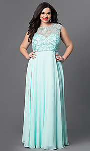 Image of beaded illusion-bodice plus-size chiffon prom dress. Style: DQ-9279P Front Image