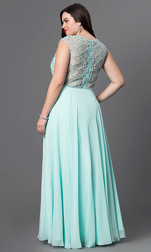 Image of beaded illusion-bodice plus-size chiffon prom dress. Style: DQ-9279P Back Image