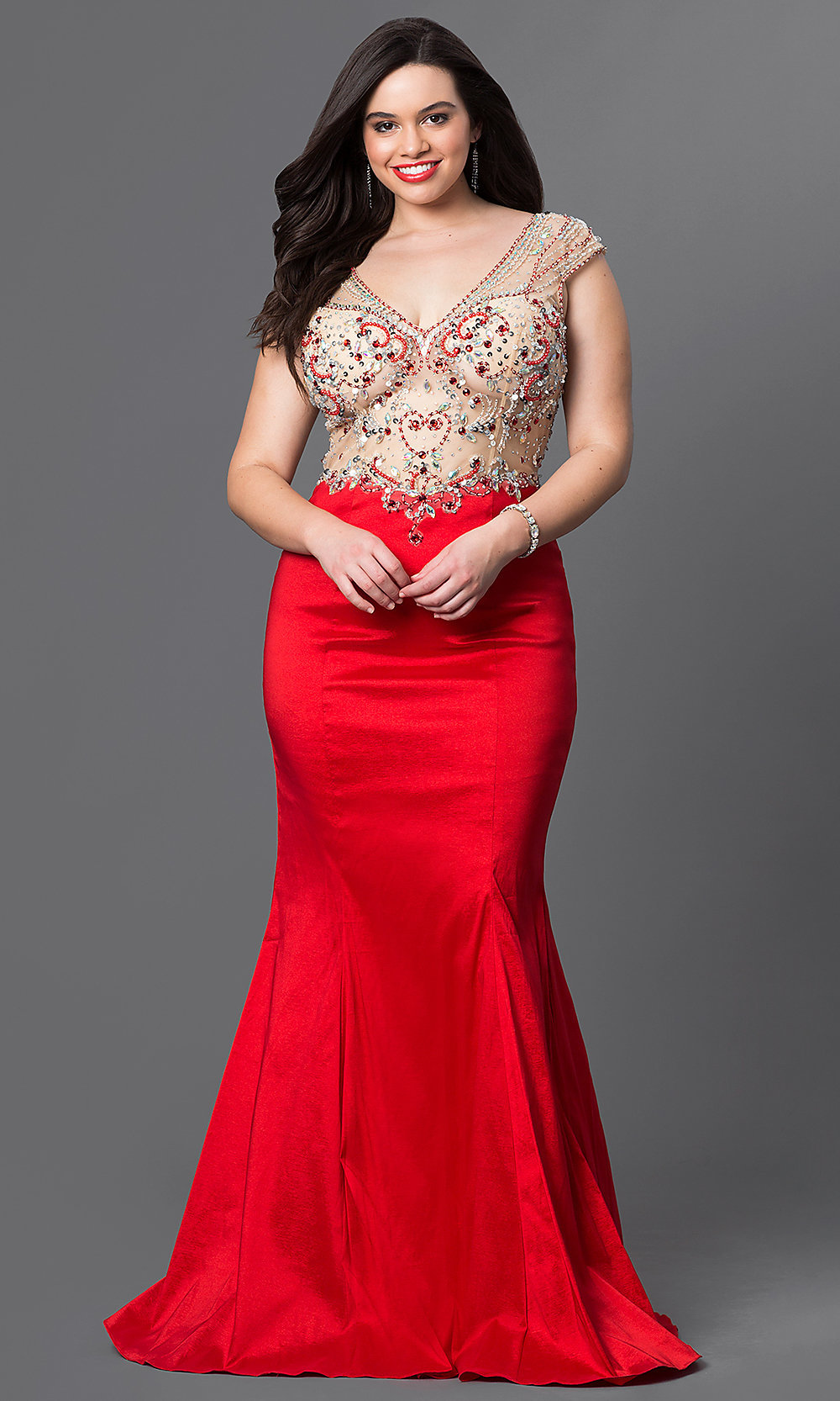 High-Neck Ruched-Waist Long Plus-Size Prom Dress | Ball