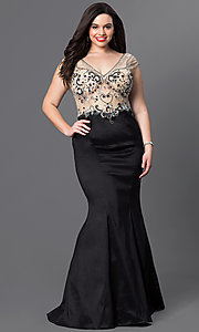 Image of long v-neck plus-size prom dress with mermaid skirt. Style: DQ-9264P Detail Image 3