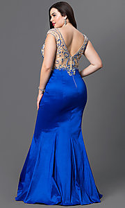 Image of long v-neck plus-size prom dress with mermaid skirt. Style: DQ-9264P Back Image