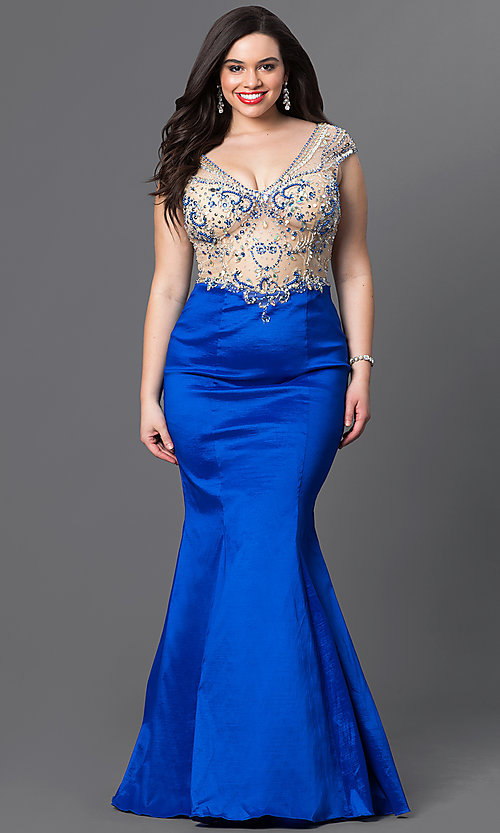 Image of long v-neck plus-size prom dress with mermaid skirt. Style: DQ-9264P Front Image