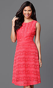 Image of lace knee-length dress with asymmetrical waist Style: MB-7045 Front Image
