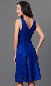 Image of lace knee-length dress with asymmetrical waist Style: MB-7045 Back Image