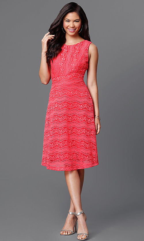 Image of lace knee-length dress with asymmetrical waist Style: MB-7045 Detail Image 1