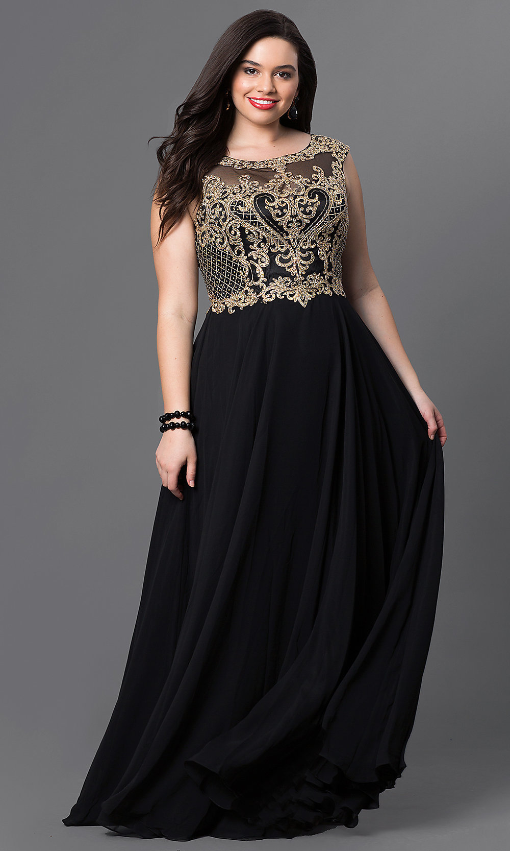 plussize long prom dress with embroidery promgirl
