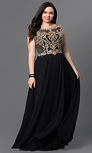 Long Plus-Size Prom Dress with Embroidered Bodice
