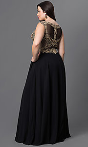 Image of long plus-size prom dress with embroidered bodice. Style: DQ-9266P Back Image