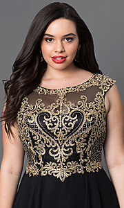 Image of long plus-size prom dress with embroidered bodice. Style: DQ-9266P Detail Image 1