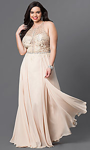Plus-Size Illusion-Bodice Prom Dress in Chiffon