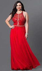 Image of plus-size illusion-bodice prom dress in chiffon. Style: DQ-9283P Detail Image 3