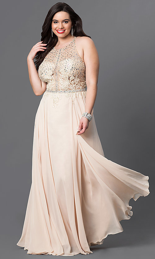 Image of plus-size illusion-bodice prom dress in chiffon. Style: DQ-9283P Front Image