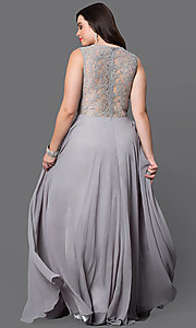 Image of long plus prom dress with sheer-waist lace bodice. Style: DQ-9322P Back Image