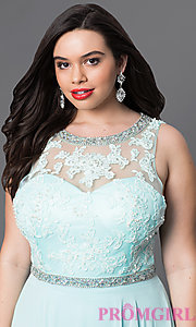 Image of open-back plus-size lace-illusion prom dress. Style: DQ-9281P Detail Image 1
