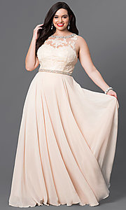 Image of open-back plus-size lace-illusion prom dress. Style: DQ-9281P Detail Image 3