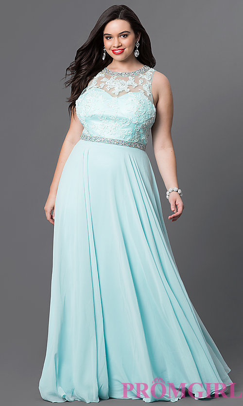 Image of open-back plus-size lace-illusion prom dress. Style: DQ-9281P Front Image