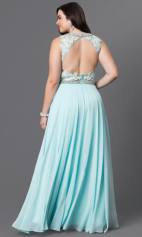 Image of open-back plus-size lace-illusion prom dress. Style: DQ-9281P Back Image