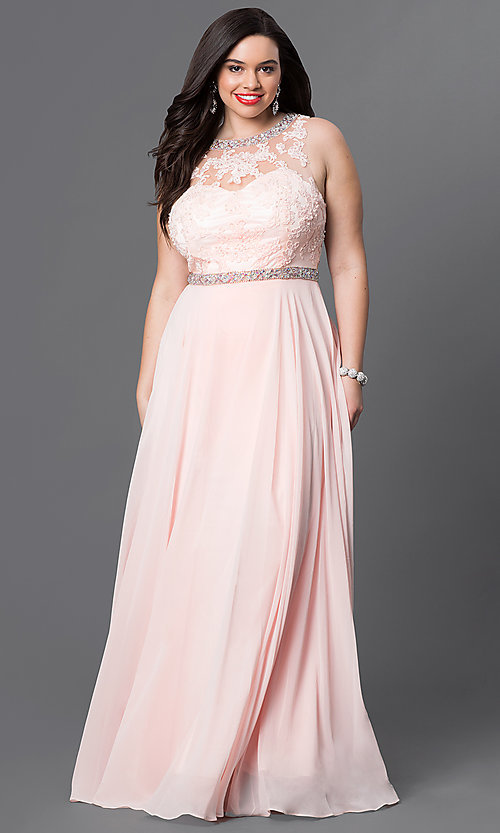 Image of open-back plus-size lace-illusion prom dress. Style: DQ-9281P Detail Image 2