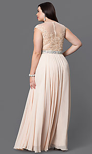 Image of cap-sleeve long plus-size prom dress with lace. Style: DQ-9400P Detail Image 6