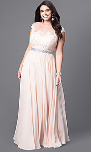 Image of cap-sleeve long plus-size prom dress with lace. Style: DQ-9400P Detail Image 1